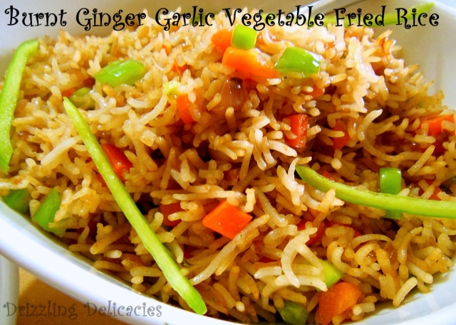 Burnt Ginger Garlic Vegetable Fried Rice