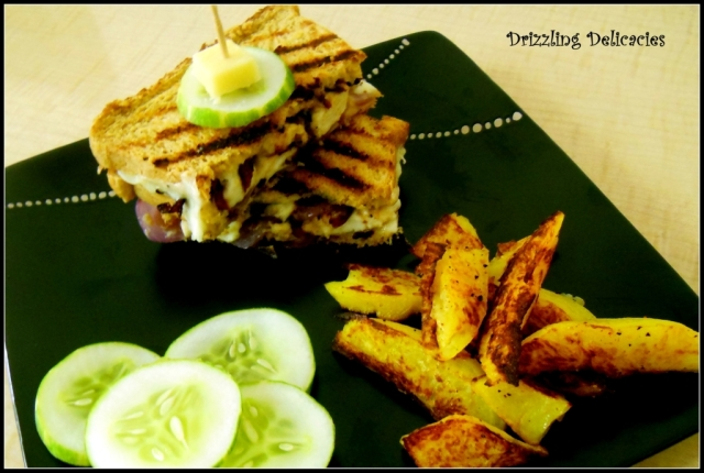 CHEESY GRILLED SANDWICH WITH CARAMELIZED ONIONS with potato wedges