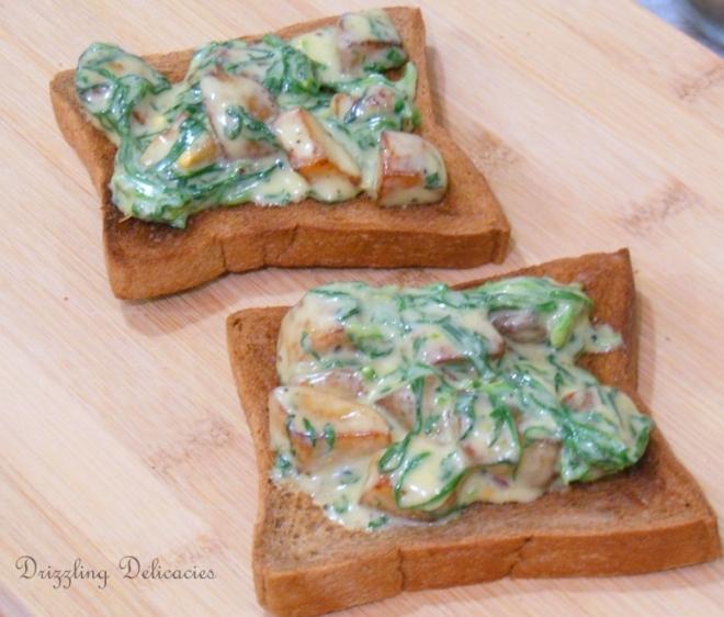 cheesy spinach and potato toasts