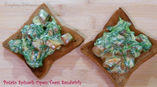 cheesy spinach and potato toast top shot