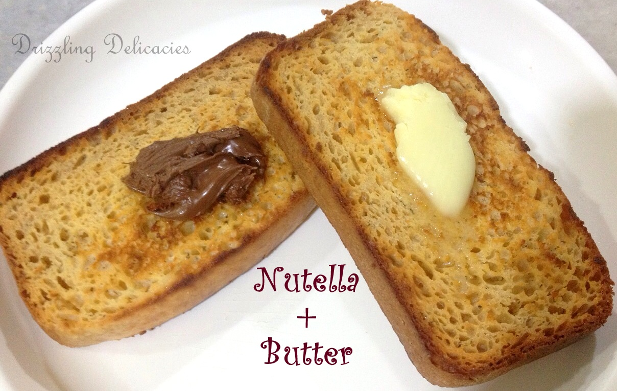 toasted banana bread with butter and nutella