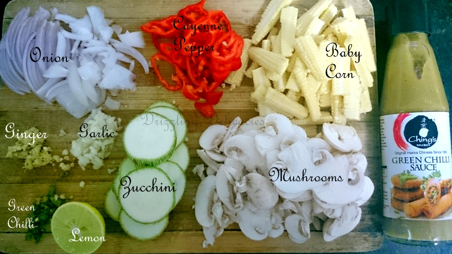MUSHROOM AND BABY CORN IN GREEN CHILLI SAUCE ingredients
