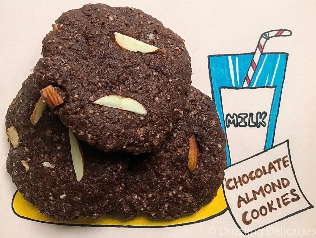 chocolate almond cookies drawing