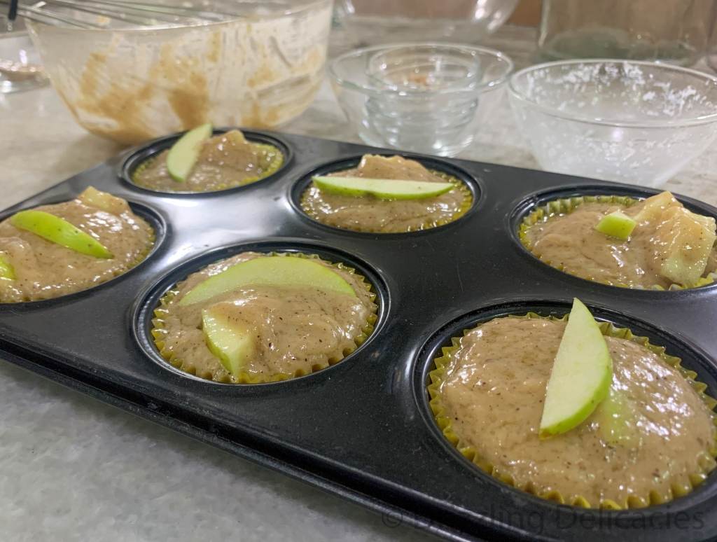 green apple muffins ready to be baked