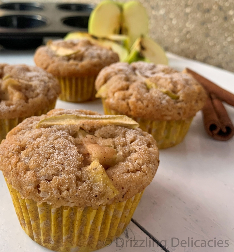 homemade eggless apple muffins with cinnamon