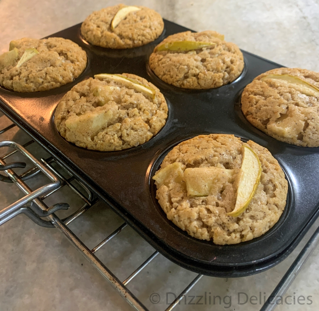 green apple muffins fresh out of the oven