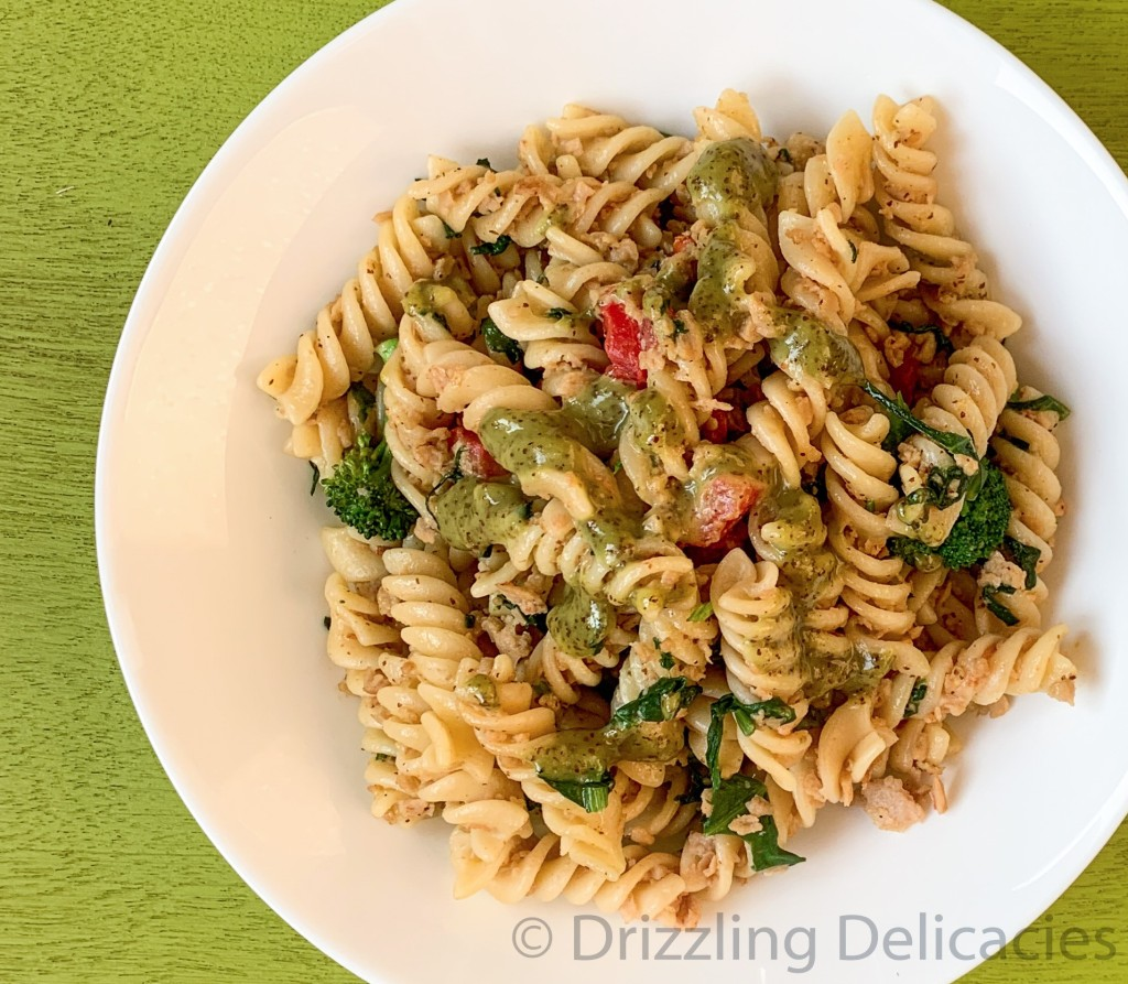 warm pasta salad with everyday ingredients in honey mustard dressing