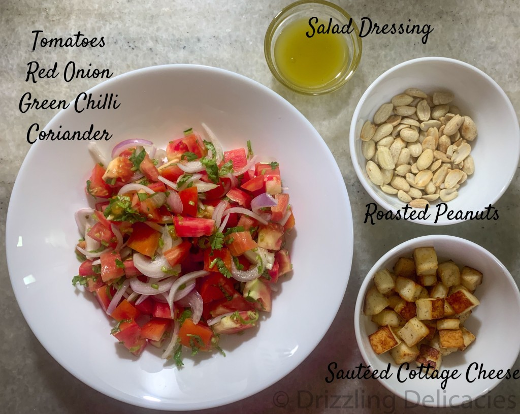 TOMATO SALAD WITH ROASTED PEANUTS AND SAUTÉED COTTAGE CHEESE ingredients