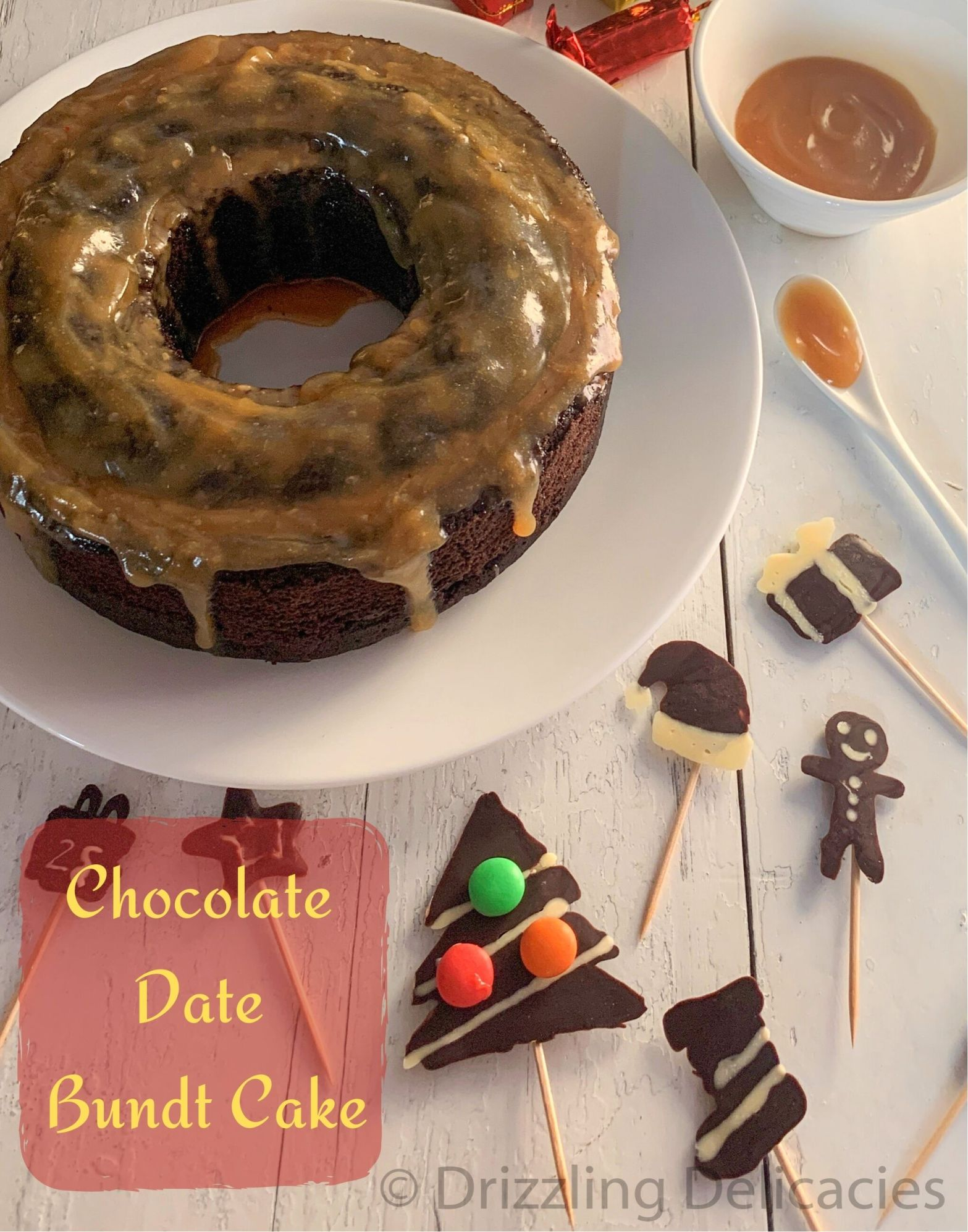 Eggless Chocolate Date Bundt Cake