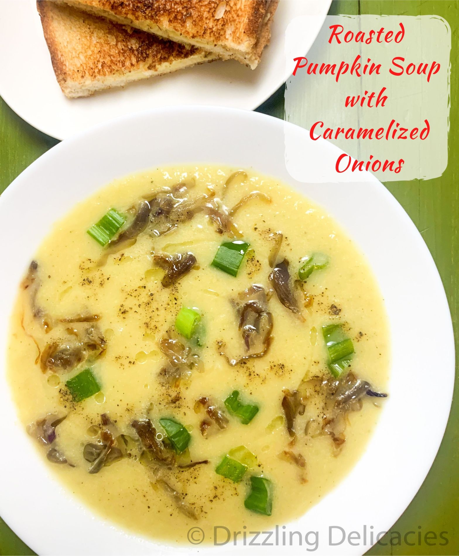 Roasted Pumpkin Soup with Caramelized Onions