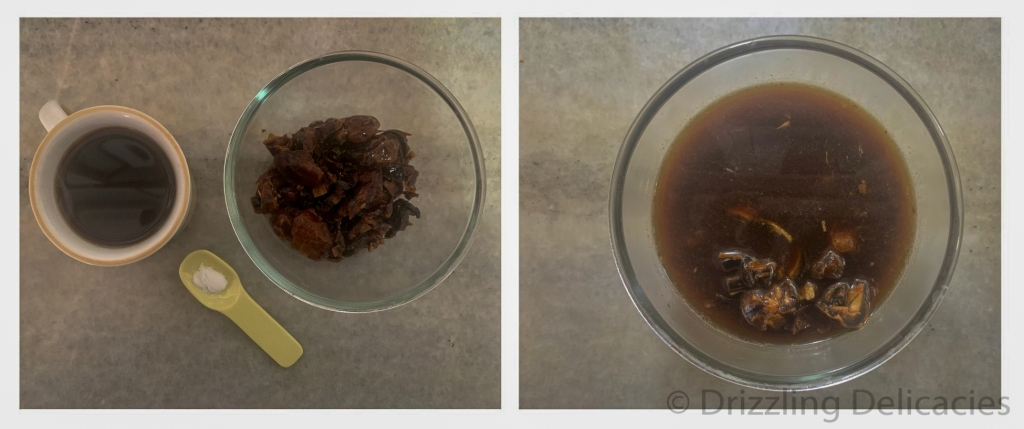 dates soaked in black coffee