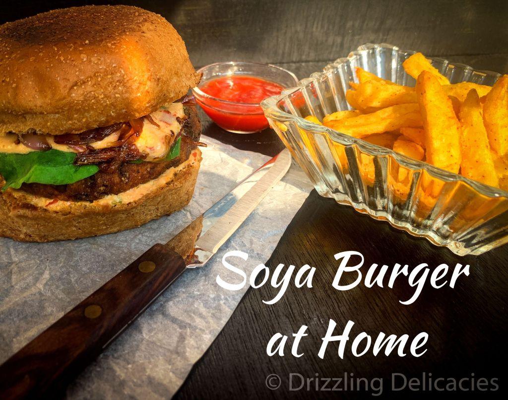 soya burger on black background