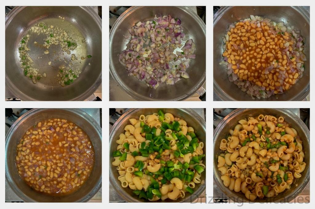 pasta in baked beans sauce method