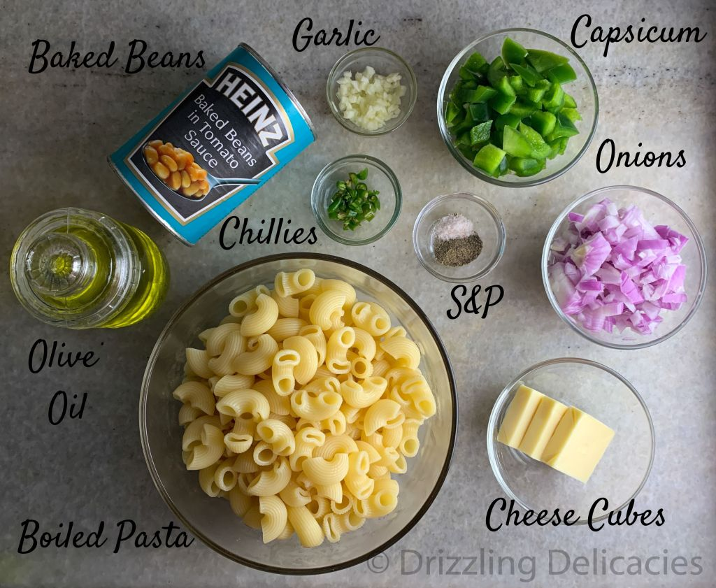 pasta in baked beans sauce ingredients