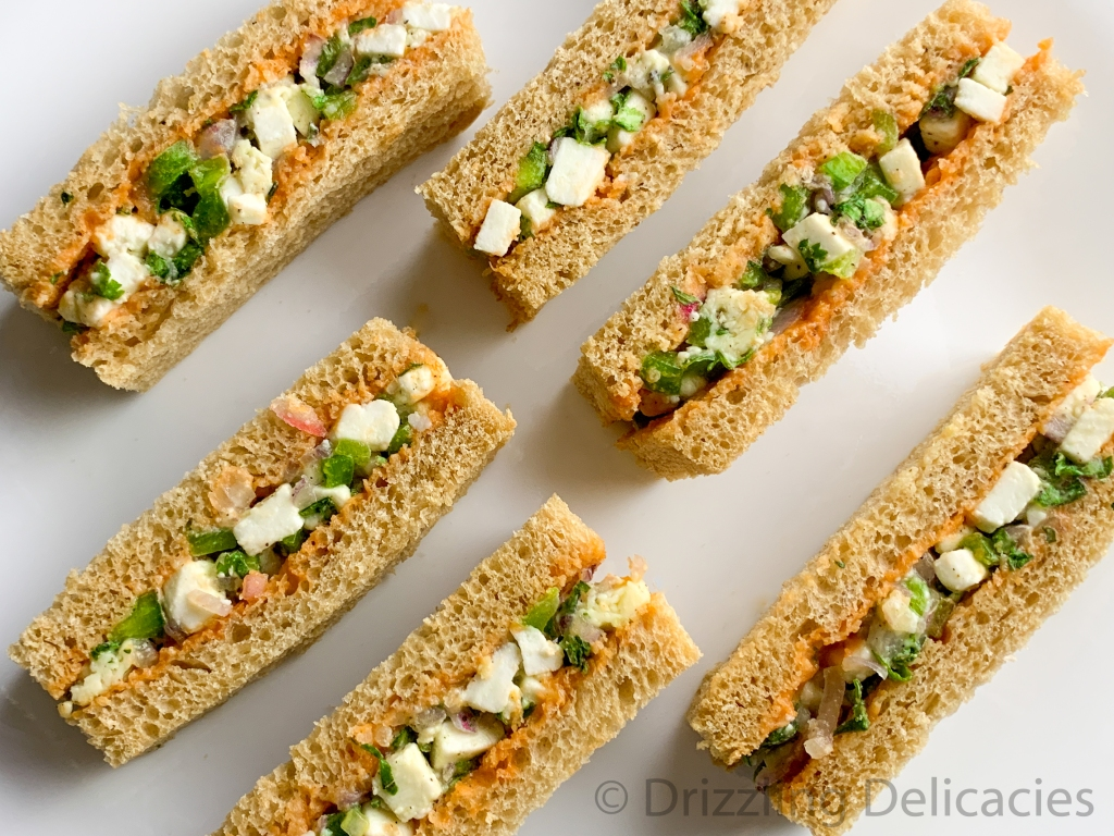 cottage cheese or paneer cold sandwiches