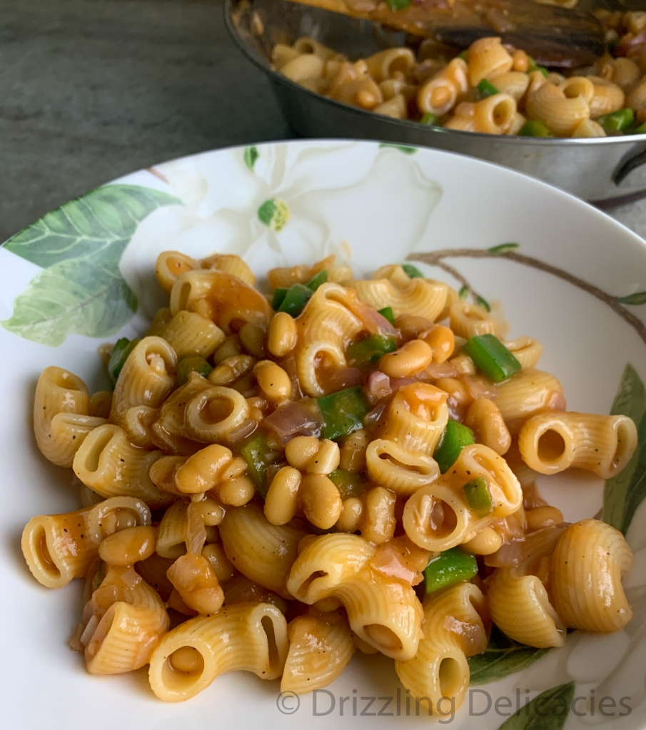 pasta in baked beans sauce