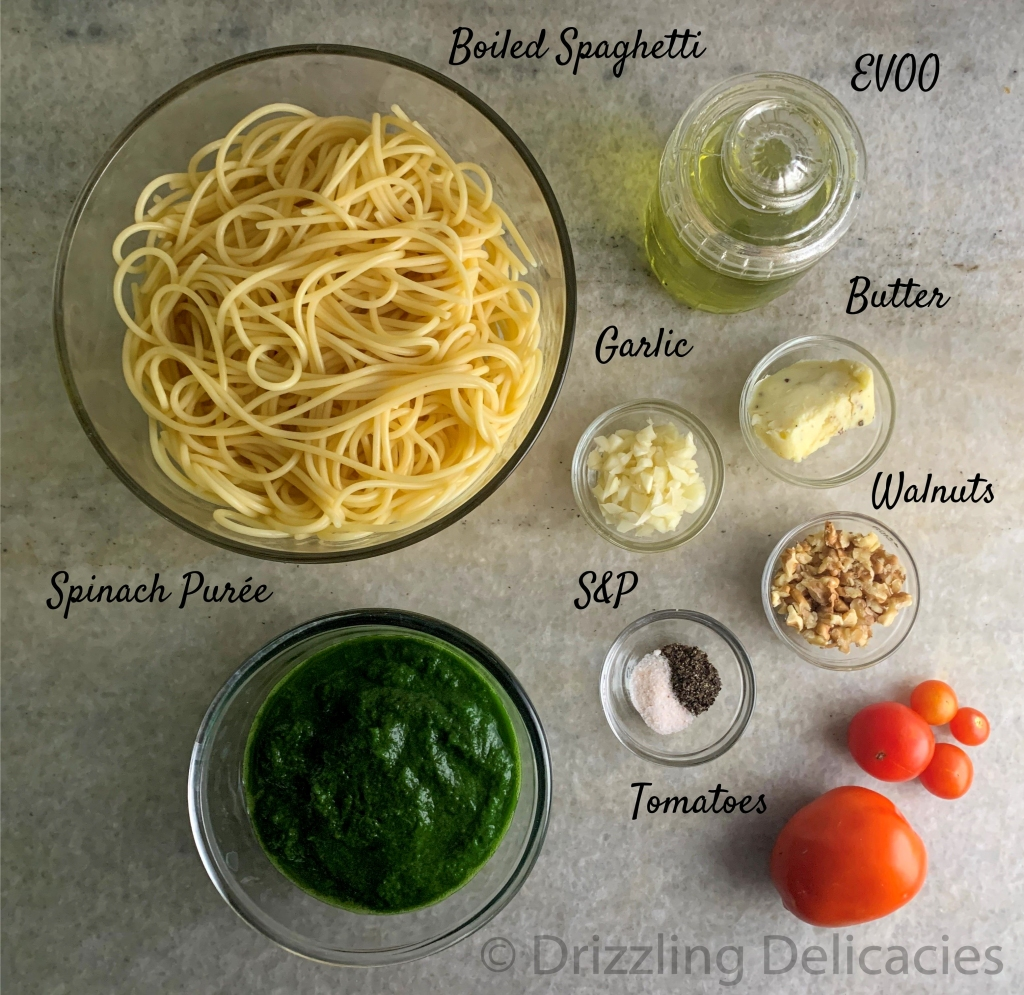 spaghetti in spinach sauce ingredients