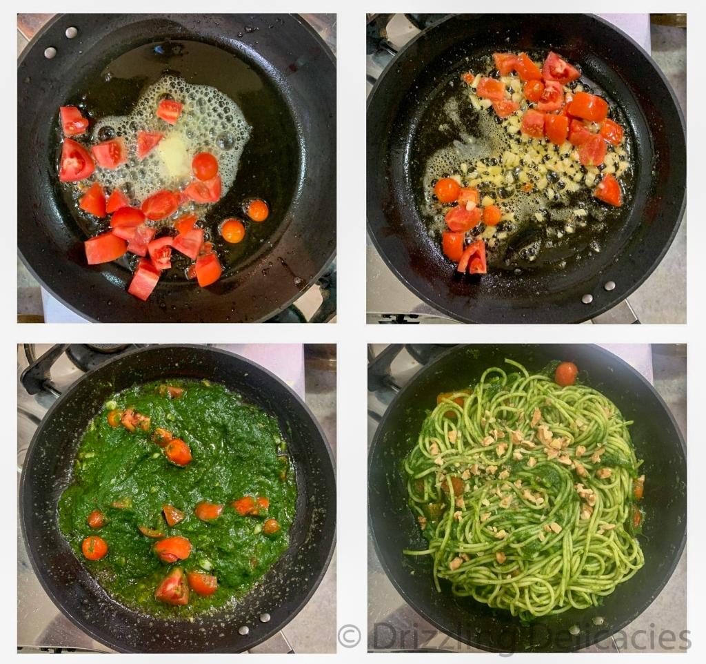 spaghetti in spinach sauce method