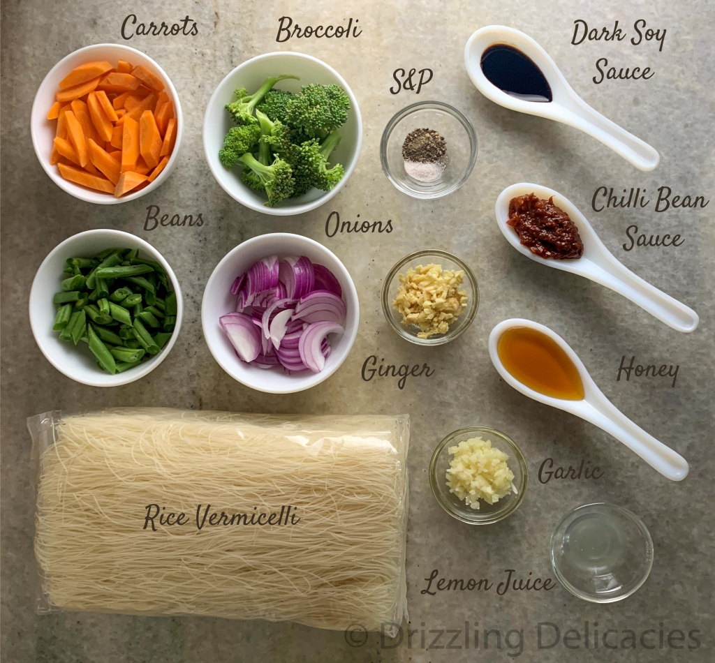 Rice Vermicelli in chili bean sauce ingredients
