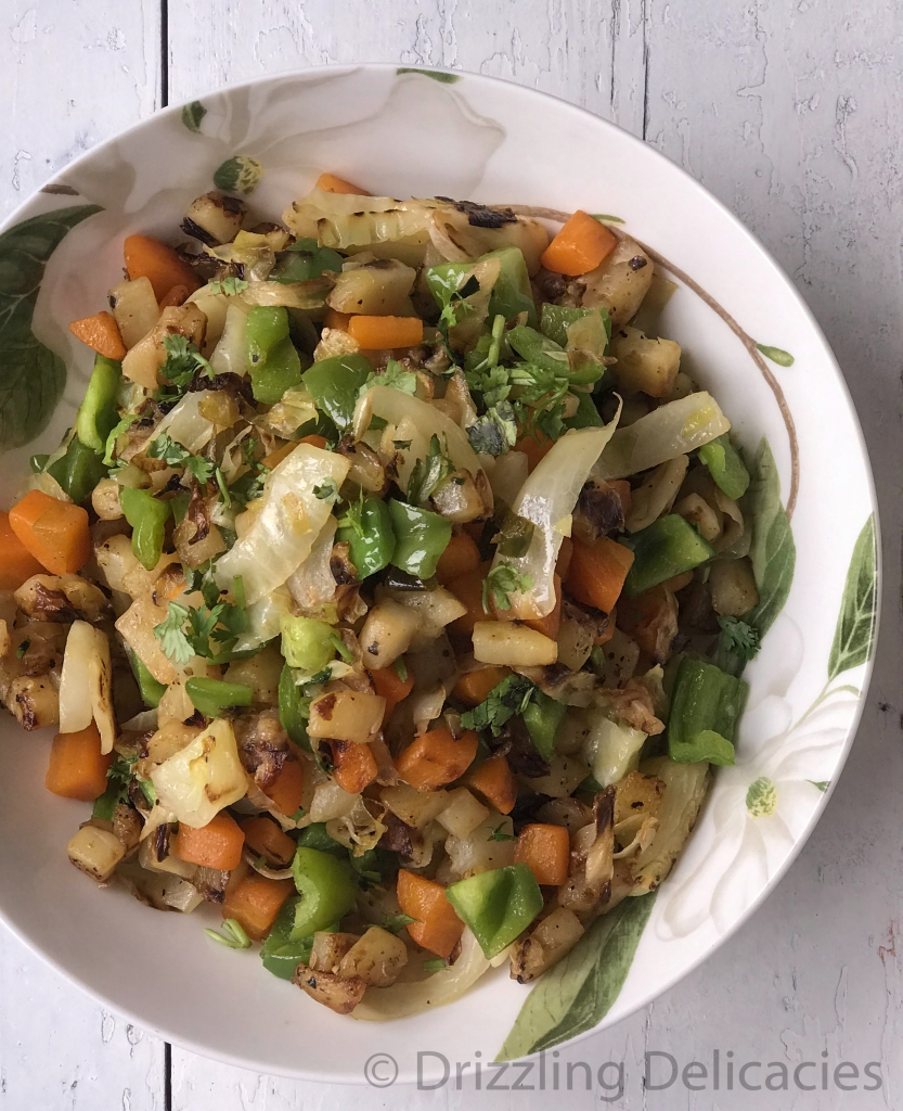 mixed vegetable tossed in salt and pepper