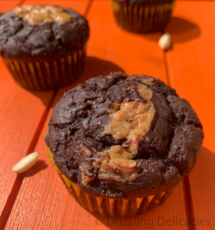 Eggless Chocolate Peanut Butter Muffins