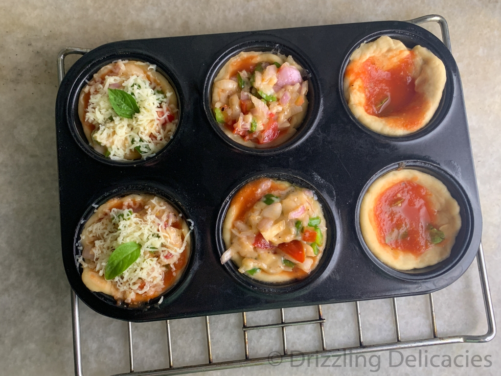 pizza muffins in muffin tray